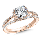 Valina Diamond & Blue Sapphire Engagement Ring Mounting in 14K Rose Gold (.35 ct. tw.)