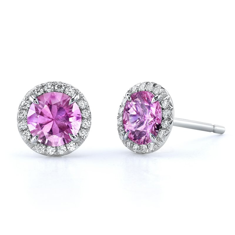 Omi Prive Pink Sapphire and Diamond Stud Earrings
