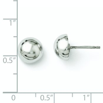 Leslie's Sterling Silver Polished 8-9mm Button Earrings