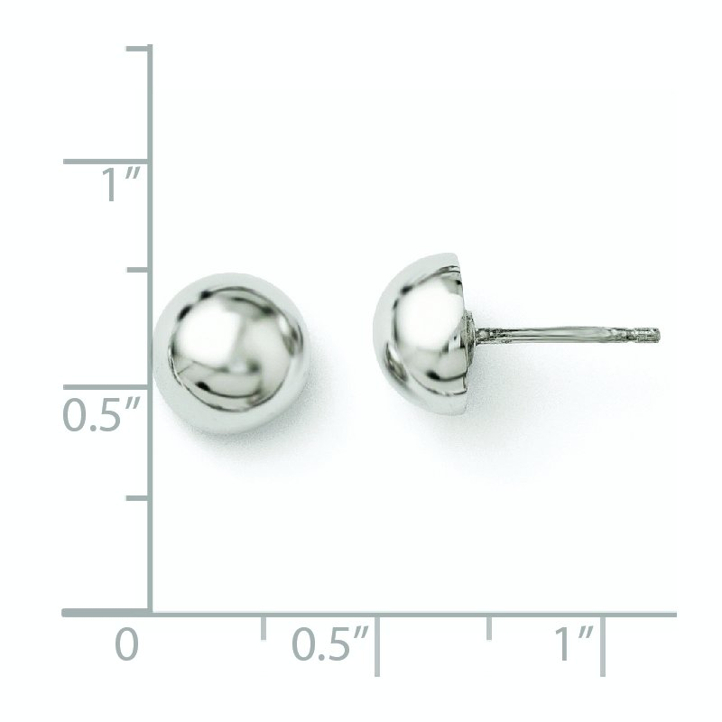 Leslie's Leslie's Sterling Silver Polished 8-9mm Button Earrings