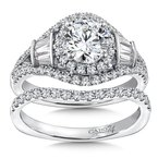 Diamond Halo Engagement Ring Mounting in 14K White Gold with Platinum Head (1.01 ct. tw.)