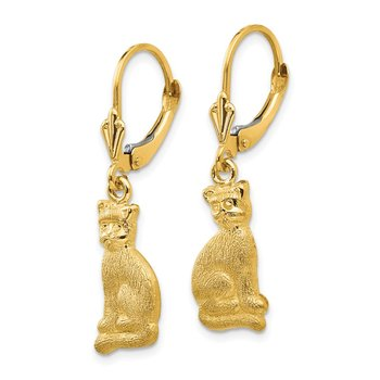 14k Satin Cat Dangle Leverback Earrings
