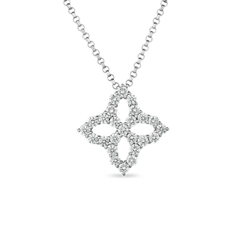 18K Diamond Outline Small Single Flower Pendant