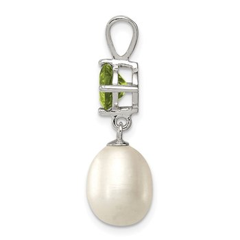 Sterling Silver Rhodium-plated Peridot 8-9mm FWC Pearl Teardrop Pendant