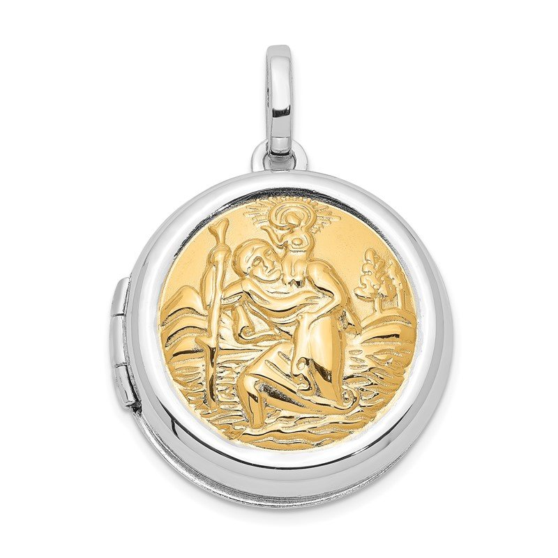 Quality Gold Sterling Silver Rhodium-plated w/Gold-plate Round St. Christopher's Locket