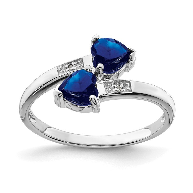 Quality Gold Sterling Silver Rhodium-plated Dark Sapphire & Diamond Heart Ring
