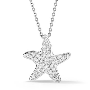"Diamond Starfish Necklace 3/4"" diameter"