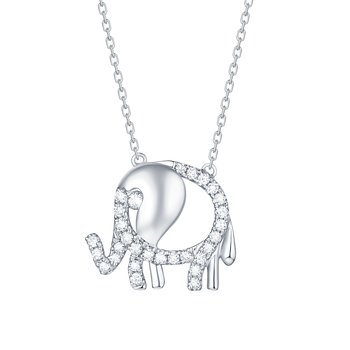Smiling Rocks 0.24Ct G-H/VS1 Lab Grown Diamond Cute Baby Elephant Necklace