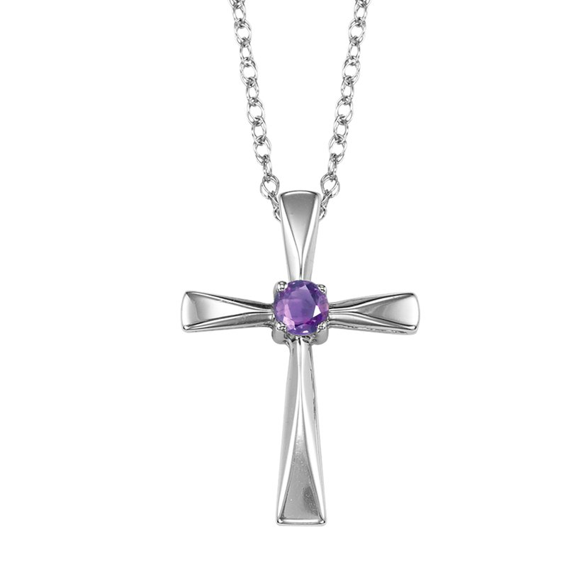 Mixables Silver Amethyst Cross Pendant