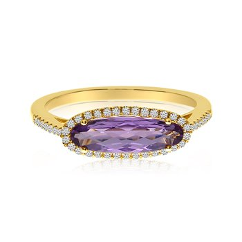 14K Yellow Gold Elongated Oval Amethyst and Diamond Ring