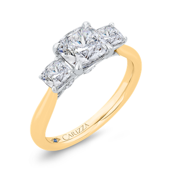 18K Two-Tone Gold Cushion Cut Diamond Three-Stone Plus Engagement Ring with Round Shank (Semi-Mount)