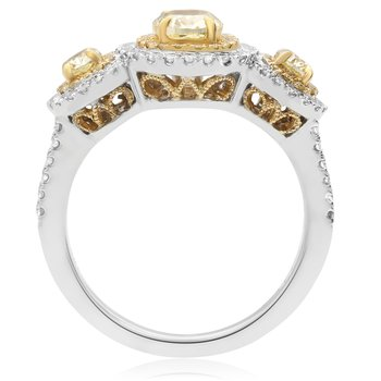 Oval White & Yellow Diamond Ring