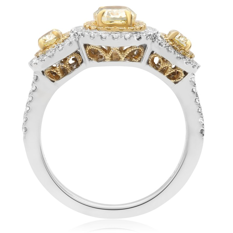 Roman & Jules Oval White & Yellow Diamond Ring