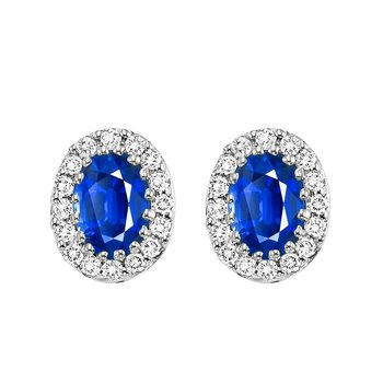 14K White Gold Color Ensembles Halo Prong Sapphire Earrings 1/5CT