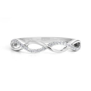 Open Twist Dainty Diamond Band
