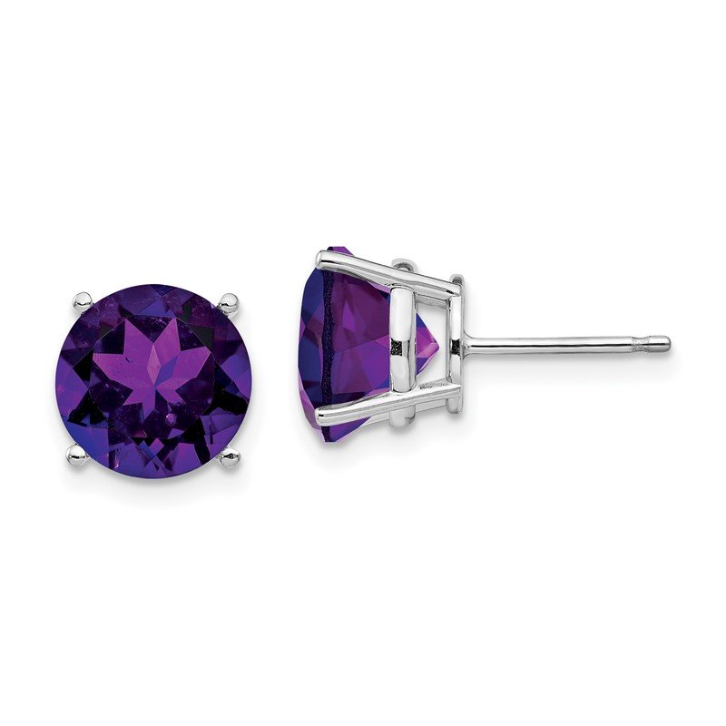 Quality Gold 14k White Gold 9mm Amethyst Earrings