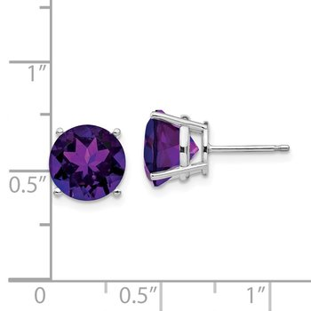 14k White Gold 9mm Amethyst Earrings
