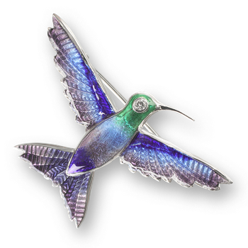 Sterling Silver Hummingbird Brooch-Purple. Diamonds