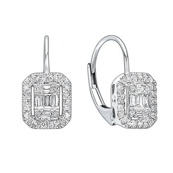 Diamond Rectangular Halo Earrings in 14k White Gold (1/5ctw)