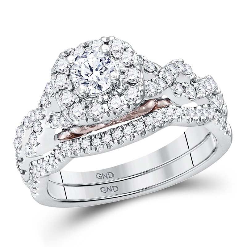 Kingdom Treasures 14k White Gold Womens Round Diamond Bellissimo Bridal Wedding Twist Ring Band Set 1.00 Cttw