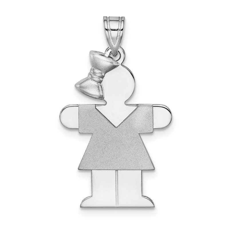 Quality Gold 14k White Gold Medium Girl w/Bow on Left Engravable Charm