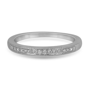 10K WG and diamond matching Wedding Band in prong setting