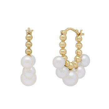 Honora 14KY 4.5-55mm White Round Freshwater Cultured Pearls Pebbled Earrings