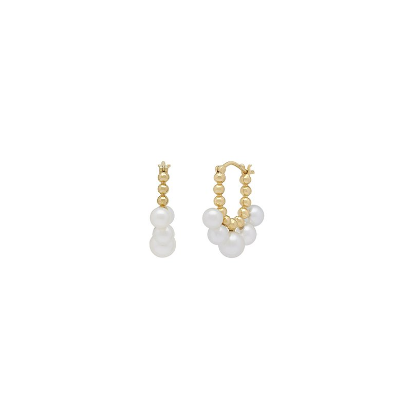 Honora Honora 14KY 4.5-55mm White Round Freshwater Cultured Pearls Pebbled Earrings