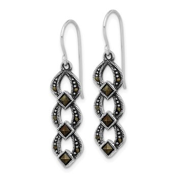 Sterling Silver Antiqued Marcasite Dangle Earrings