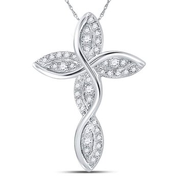 14kt White Gold Womens Round Diamond Contoured Wavy Cross Pendant 1/6 Cttw