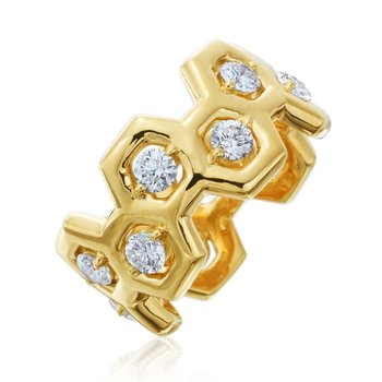 "Honeybee ""B"" Honeycomb & Diamond Ring R885G"