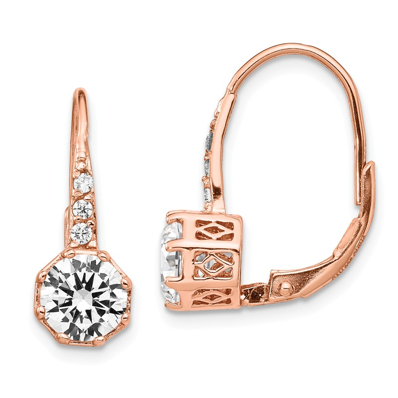 Sterling Silver Rhodium Plated CZ Rose Gold Plated Dangle Earrings Cheryl M