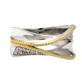 18kt and Sterling Silver Diamond Ring