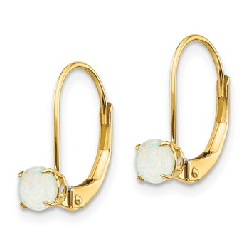 14k 4mm Round October/Opal Leverback Earrings