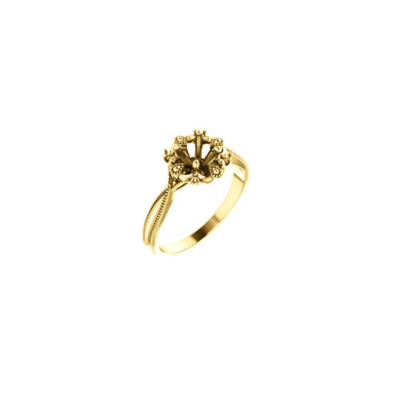 Stuller 18K Yellow 5.2 mm Round Engagement Ring Mounting