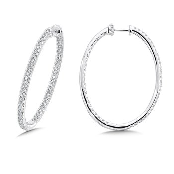 Locking Slim Reflection Diamond Hoops in 14K White Gold with Platinum Post