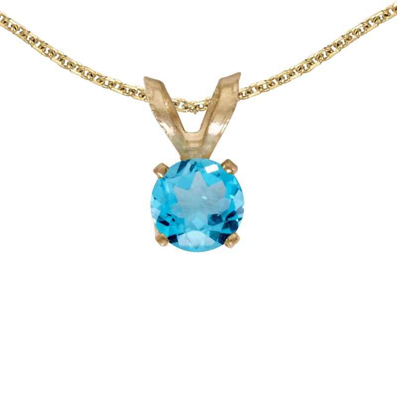 Color Merchants 14k Yellow Gold Round Blue Topaz Pendant