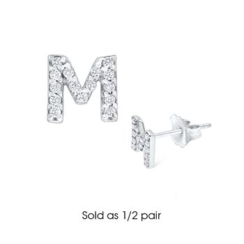 "Diamond Single Initial ""M"" Stud Earring (1/2 pair)"