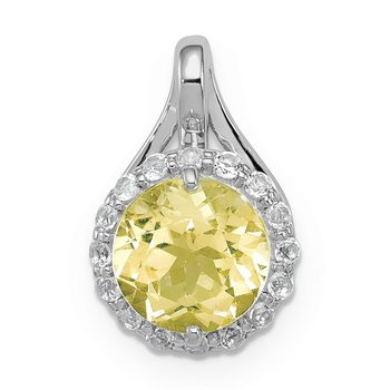 Sterling Silver Rhodium White Topaz & Lemon Quartz Circle Pendant