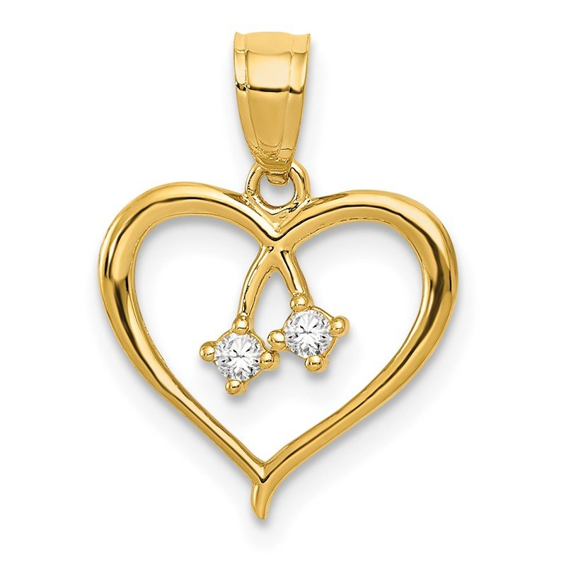Quality Gold 14k 2-CZ Cut-out Heart Pendant