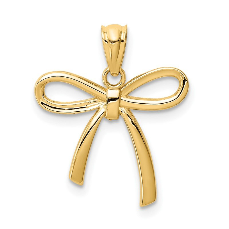 Lester Martin Online Collection 14k Gold Polished Small Ribbon Bow Pendant