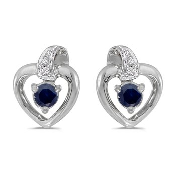 10k White Gold Round Sapphire And Diamond Heart Earrings