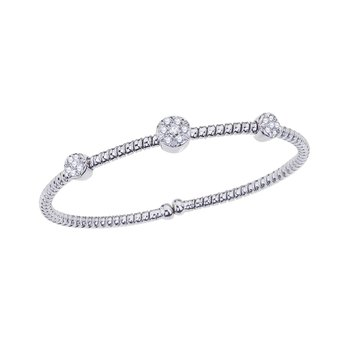 White Gold Twisted Bangle with Diamond Stations
