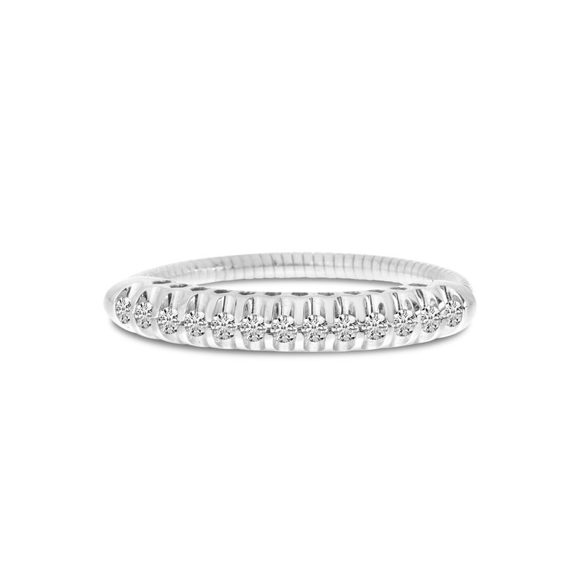 Color Merchants 14K White Gold Stretch Diamond Band Comfort Ring (.25 ct) Shared Prong Setting