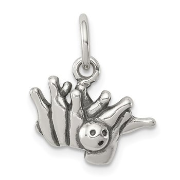 Sterling Silver Antique Bowling Ball and Pins Charm