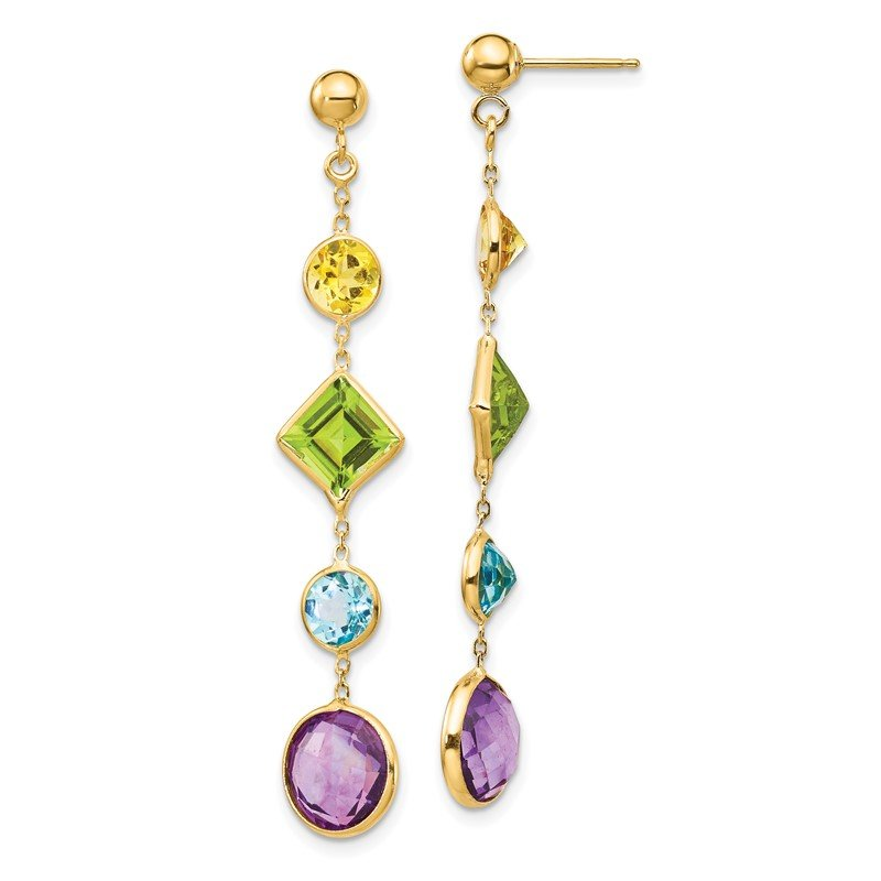 Quality Gold 14K Muti-Gemstone Post Earrings
