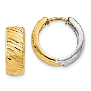 14k Two-tone Textured Hoop Earrings