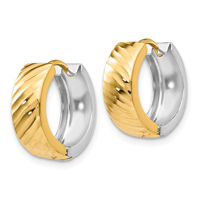 Quality Gold 14k Two-tone Textured Hoop Earrings