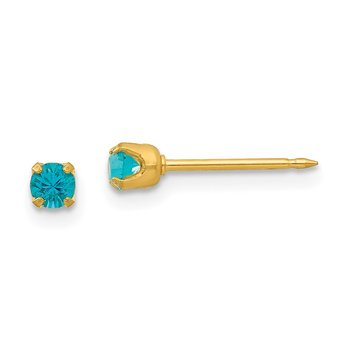 Inverness 24k Plated December Blue Crystal Birthstone Earrings