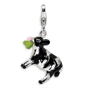 Sterling Silver 3-D Enameled Eating Cow w/Lobster Clasp Charm